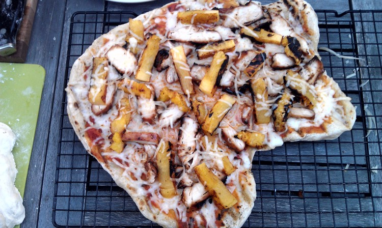 Grilled Pizza: Grilled Pineapple, Chicken, Mozzarella Pizza