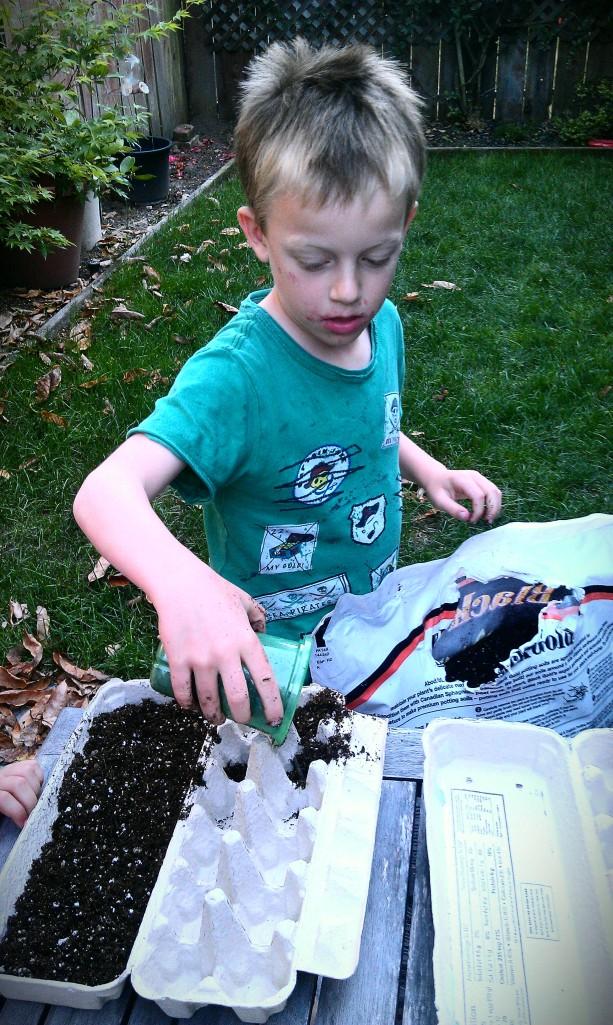 Jack placing dirt