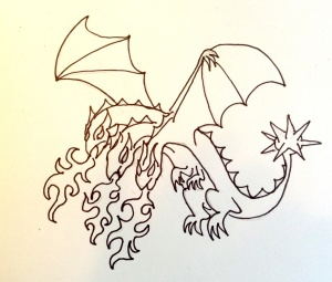 Jack's vision, a 3-headed fire breathing dragon with a spiky ball tale so I drew this.