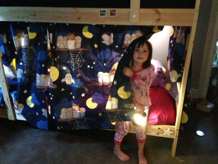 Elise's new bottom bunk fort.